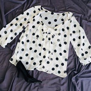 Sheer Polka Dot Blouse with Bow - Size M
